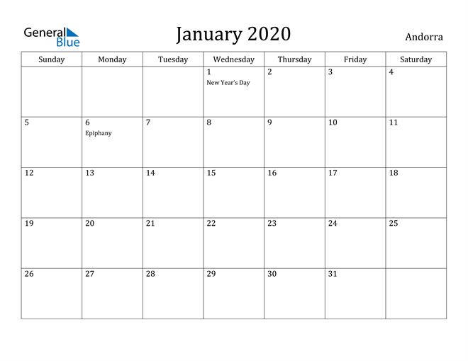 Image of January 2020 Andorra Calendar with Holidays Calendar