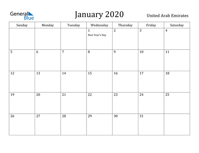 Image of January 2020 United Arab Emirates Calendar with Holidays Calendar
