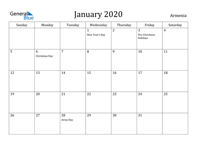 Image of January 2020 Armenia Calendar with Holidays Calendar