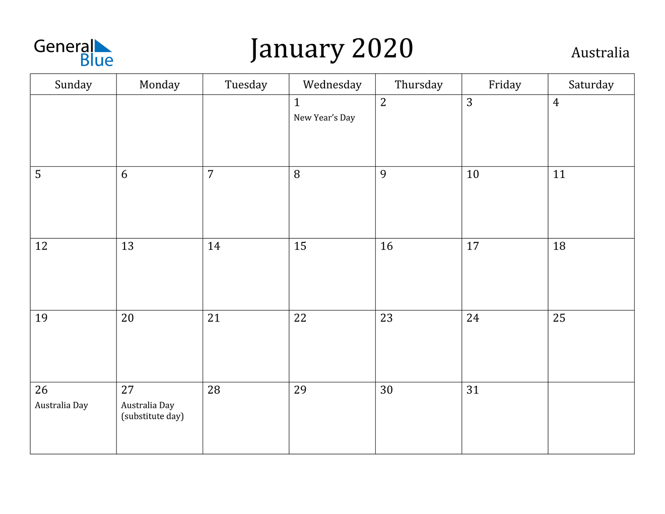 Image of January 2020 Australia Calendar with Holidays Calendar