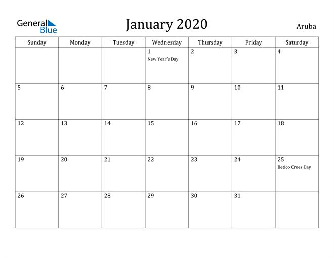Image of January 2020 Aruba Calendar with Holidays Calendar