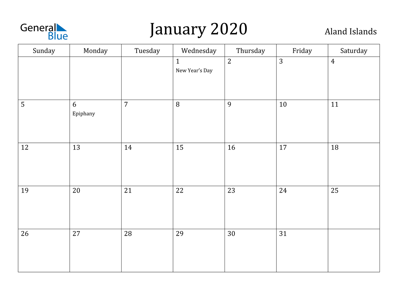 Image of January 2020 Aland Islands Calendar with Holidays Calendar