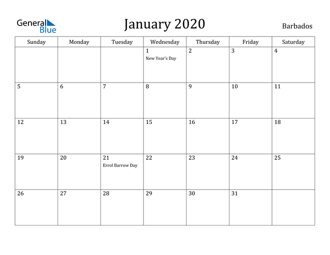Image of January 2020 Barbados Calendar with Holidays Calendar