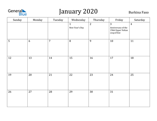 Image of January 2020 Burkina Faso Calendar with Holidays Calendar