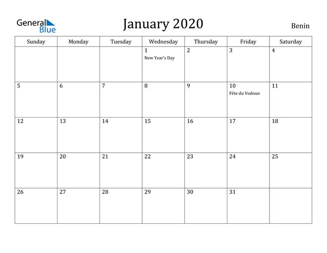Image of January 2020 Benin Calendar with Holidays Calendar
