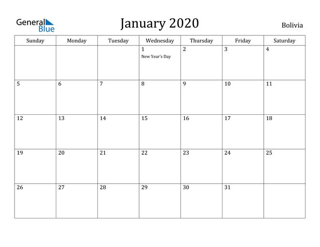 Image of January 2020 Bolivia Calendar with Holidays Calendar