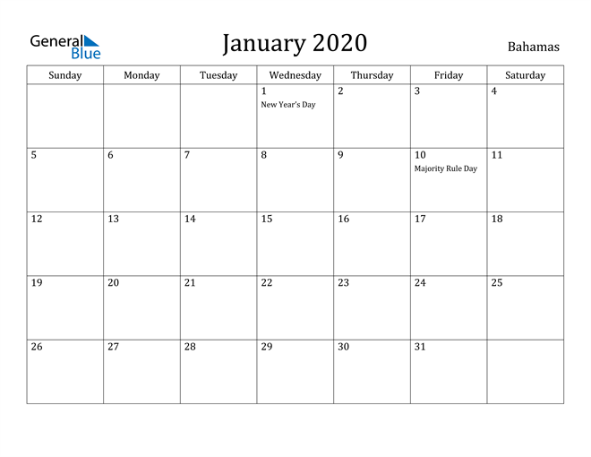Image of January 2020 Bahamas Calendar with Holidays Calendar