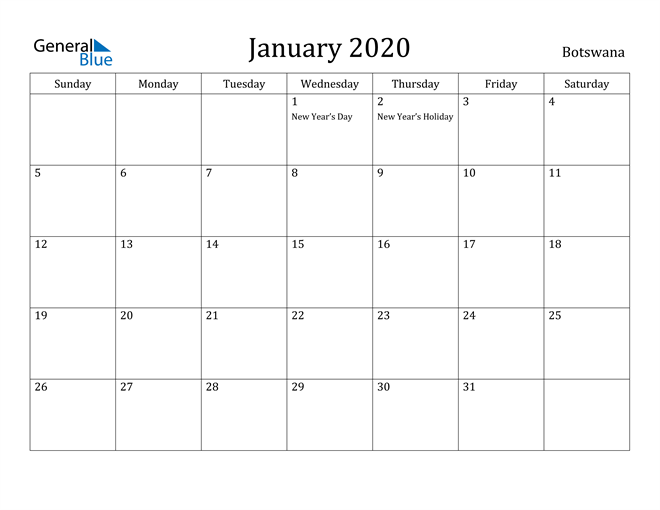 Image of January 2020 Botswana Calendar with Holidays Calendar