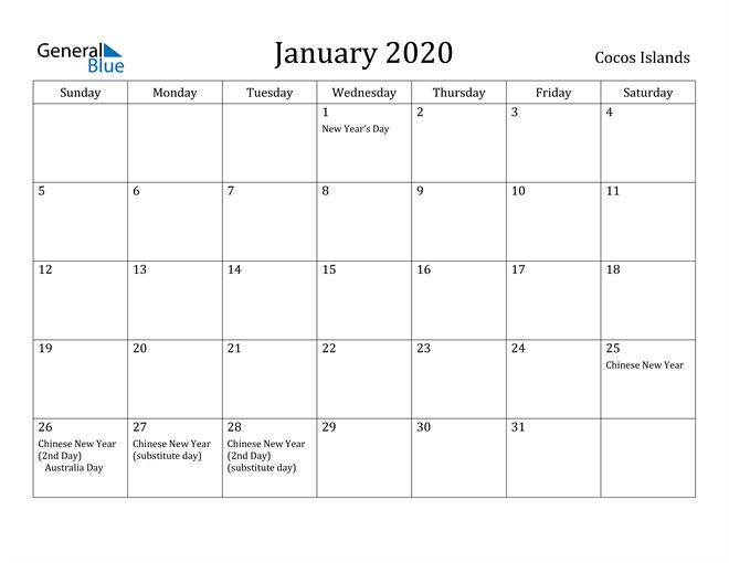 Image of January 2020 Cocos Islands Calendar with Holidays Calendar