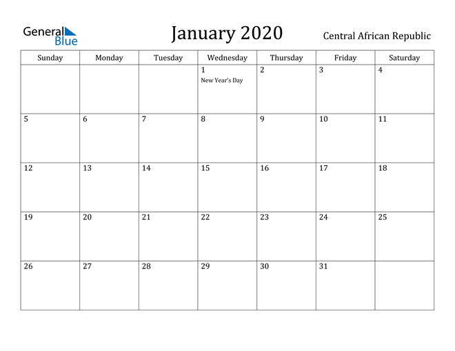 Image of January 2020 Central African Republic Calendar with Holidays Calendar