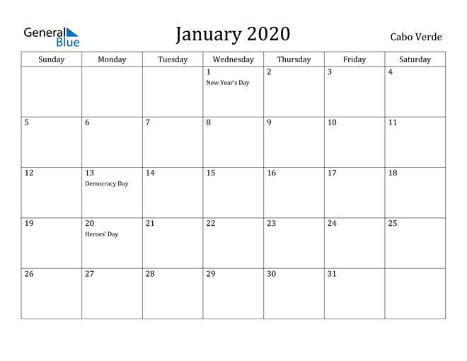 Image of January 2020 Cabo Verde Calendar with Holidays Calendar