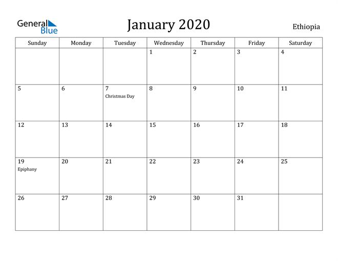 Image of January 2020 Ethiopia Calendar with Holidays Calendar