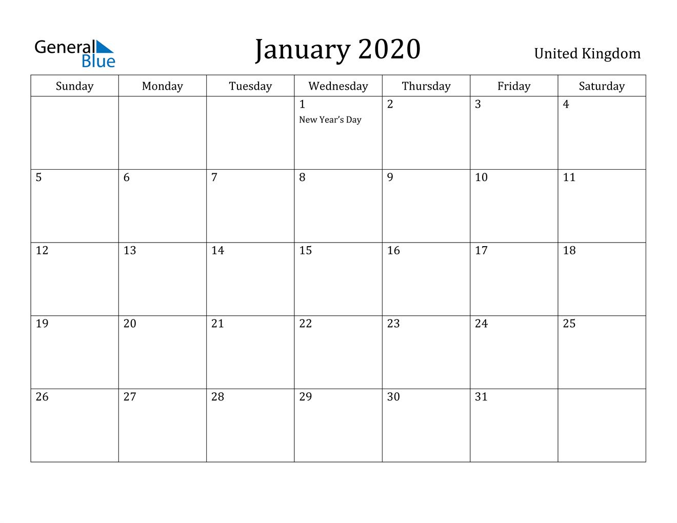 Image of January 2020 United Kingdom Calendar with Holidays Calendar