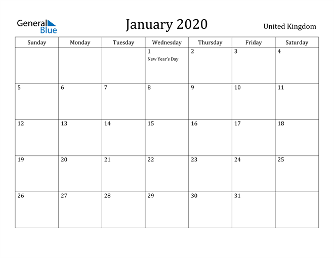 Image of January 2020 United Kingdom Calendar with Holidays Calendar