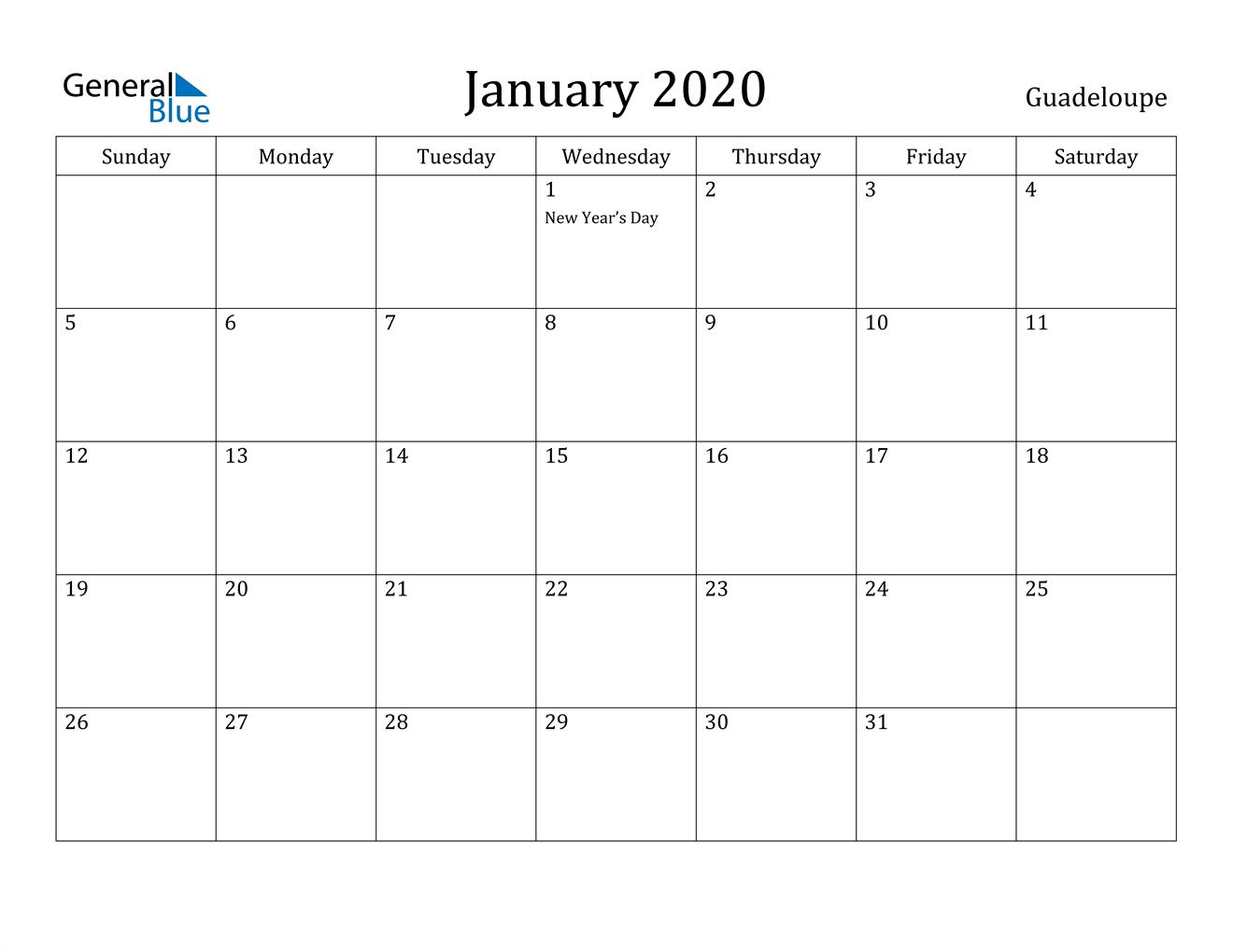 Image of January 2020 Guadeloupe Calendar with Holidays Calendar