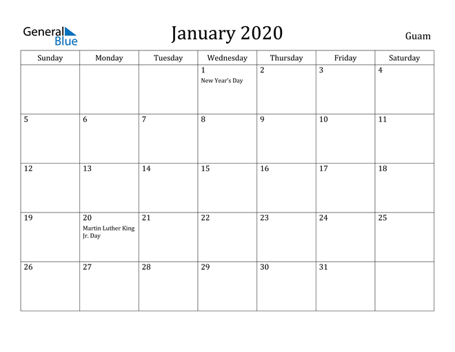 Image of January 2020 Guam Calendar with Holidays Calendar