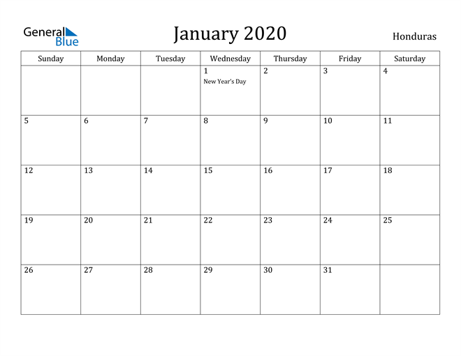 Image of January 2020 Honduras Calendar with Holidays Calendar