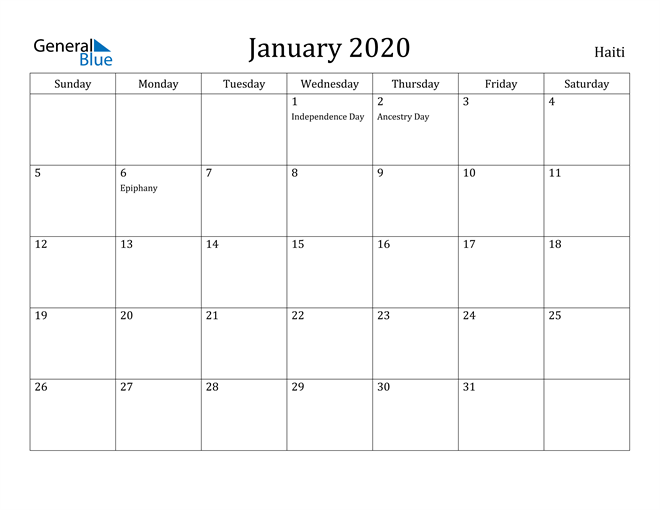 Image of January 2020 Haiti Calendar with Holidays Calendar