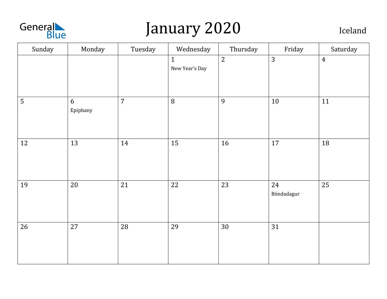 Image of January 2020 Iceland Calendar with Holidays Calendar