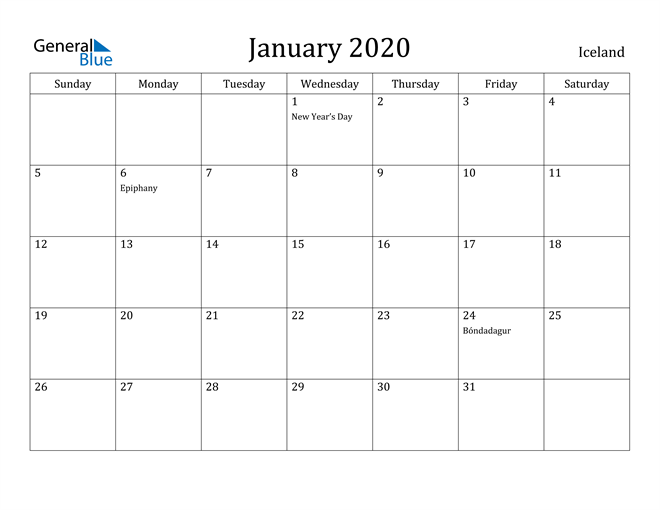 Image of January 2020 Iceland Calendar with Holidays Calendar