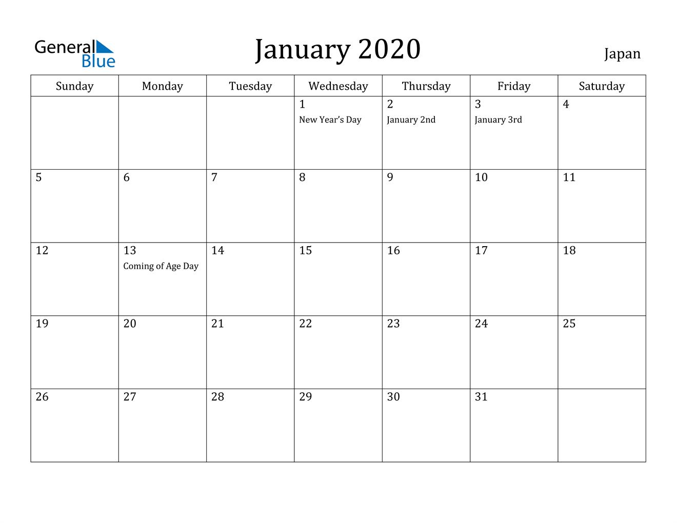 Image of January 2020 Japan Calendar with Holidays Calendar