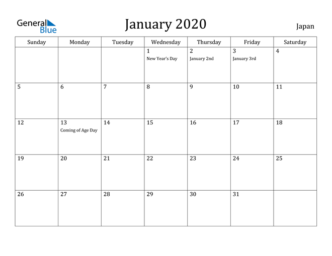 Image of January 2020 Japan Calendar with Holidays Calendar