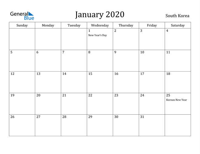 Image of January 2020 South Korea Calendar with Holidays Calendar