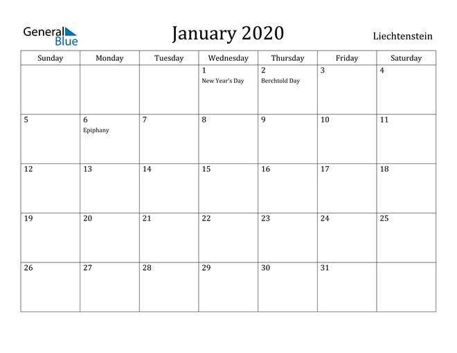 Image of January 2020 Liechtenstein Calendar with Holidays Calendar
