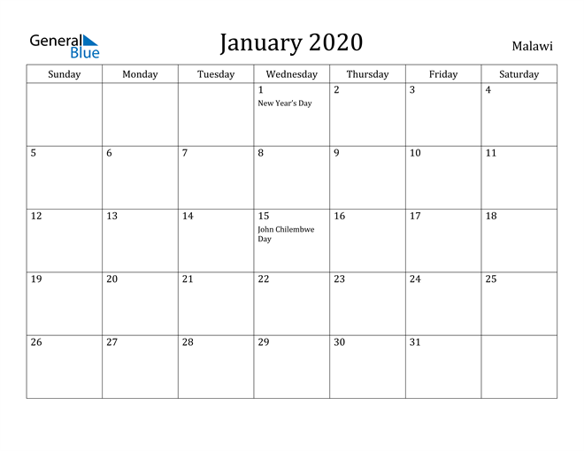 Image of January 2020 Malawi Calendar with Holidays Calendar