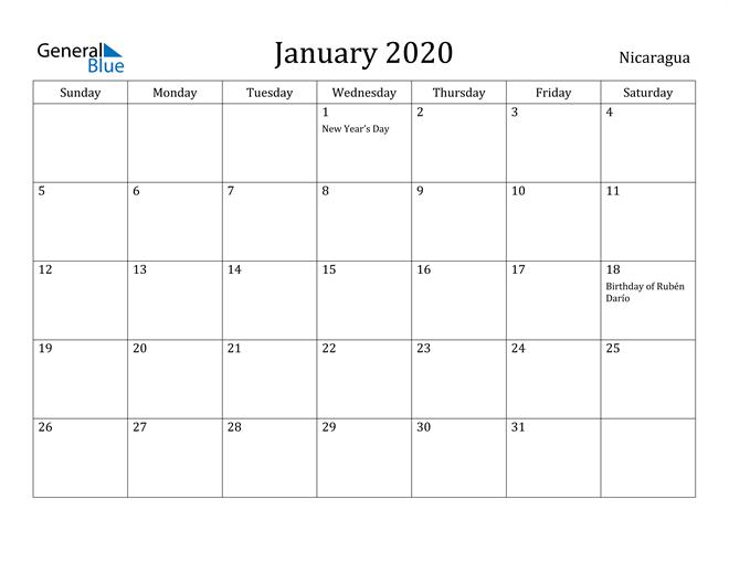 Image of January 2020 Nicaragua Calendar with Holidays Calendar