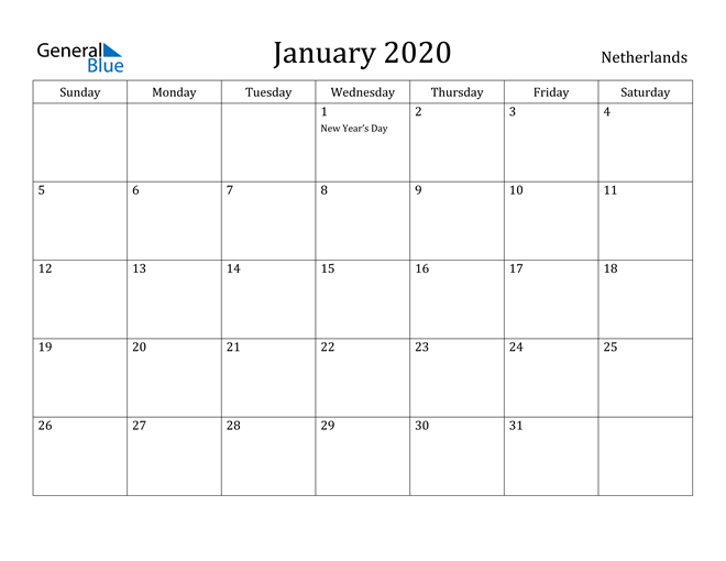 Image of January 2020 Netherlands Calendar with Holidays Calendar