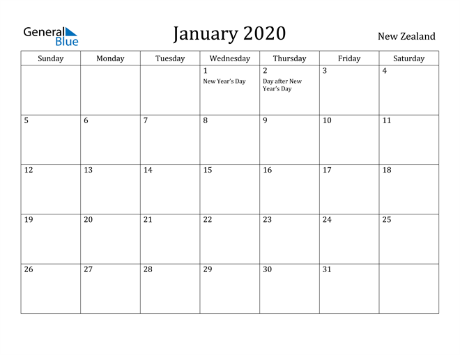 Image of January 2020 New Zealand Calendar with Holidays Calendar