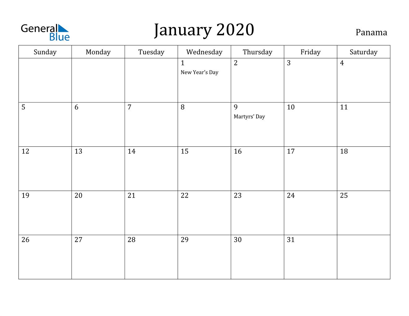 Image of January 2020 Panama Calendar with Holidays Calendar