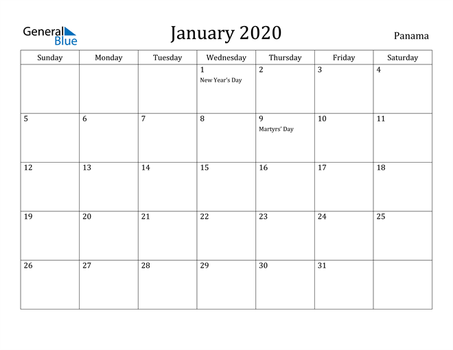 Image of January 2020 Panama Calendar with Holidays Calendar