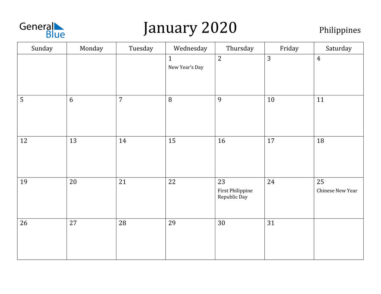 Image of January 2020 Philippines Calendar with Holidays Calendar