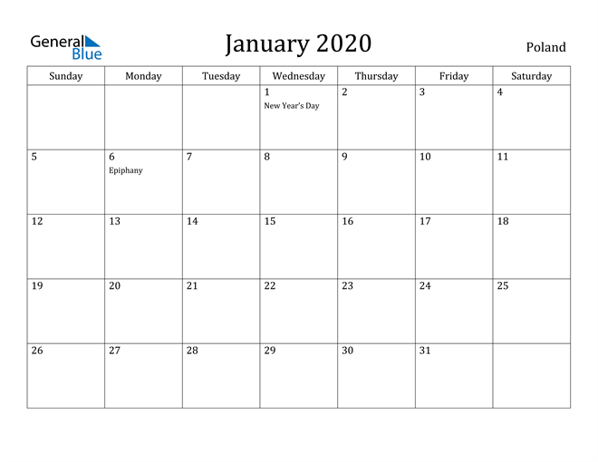 Image of January 2020 Poland Calendar with Holidays Calendar