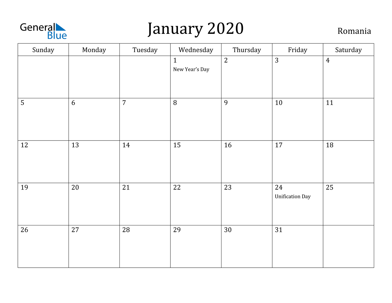 Image of January 2020 Romania Calendar with Holidays Calendar