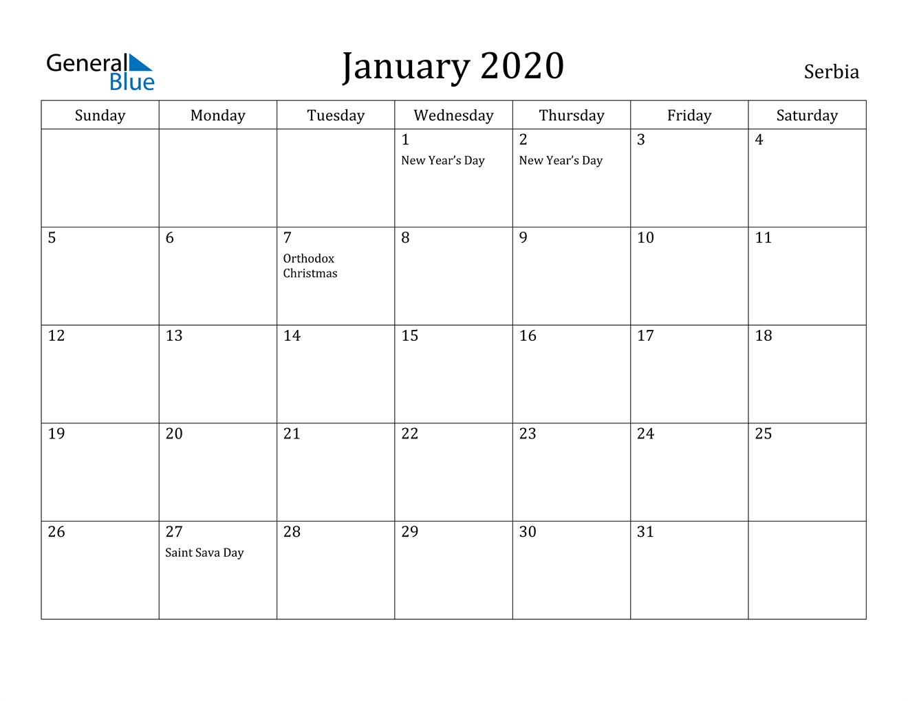Image of January 2020 Serbia Calendar with Holidays Calendar