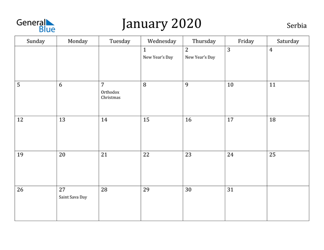 Image of January 2020 Serbia Calendar with Holidays Calendar