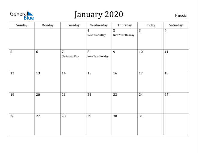 Image of January 2020 Russia Calendar with Holidays Calendar