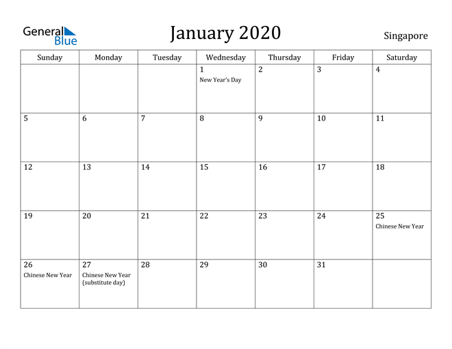 Image of January 2020 Singapore Calendar with Holidays Calendar
