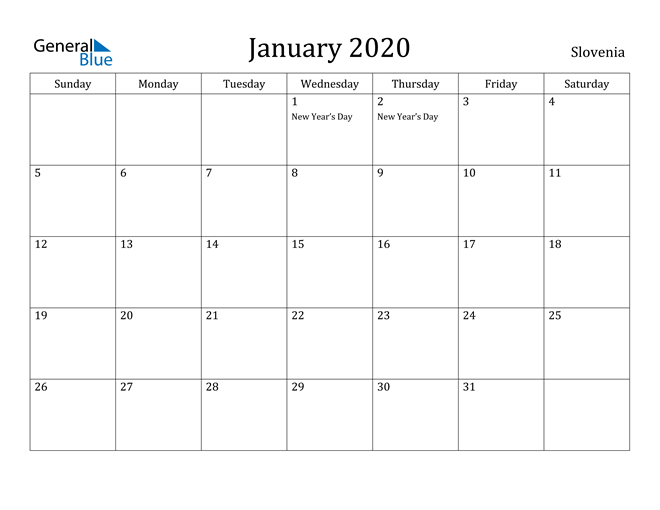 Image of January 2020 Slovenia Calendar with Holidays Calendar