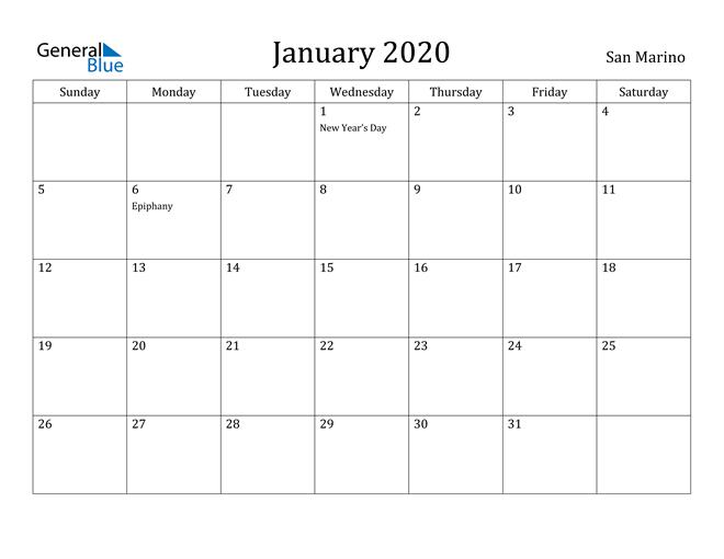 Image of January 2020 San Marino Calendar with Holidays Calendar