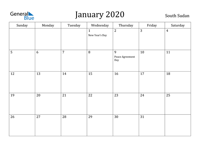 Image of January 2020 South Sudan Calendar with Holidays Calendar