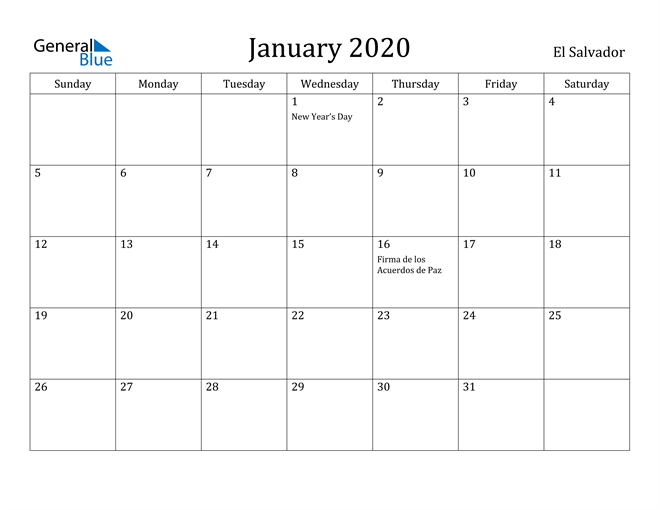 Image of January 2020 El Salvador Calendar with Holidays Calendar