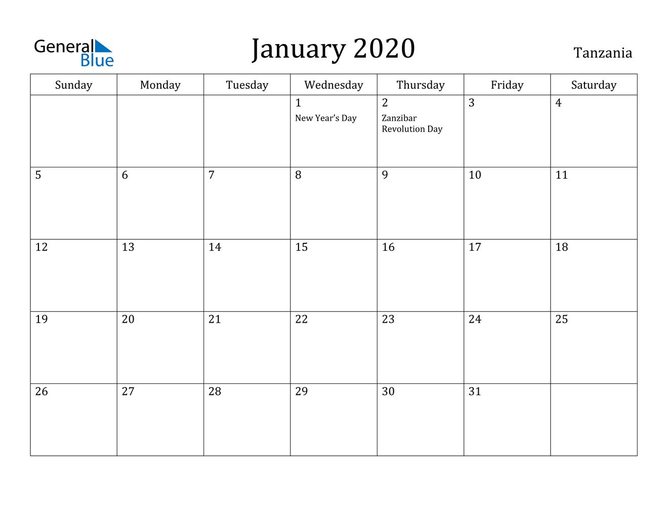 Image of January 2020 Tanzania Calendar with Holidays Calendar