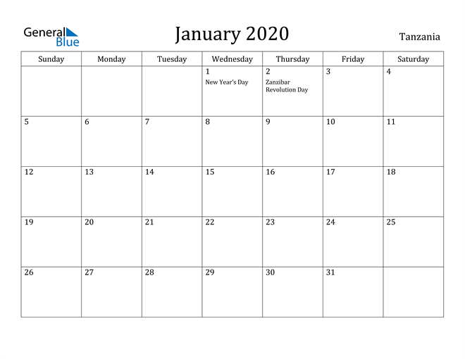 Image of January 2020 Tanzania Calendar with Holidays Calendar