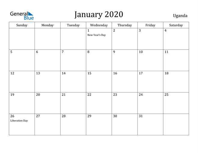 Image of January 2020 Uganda Calendar with Holidays Calendar
