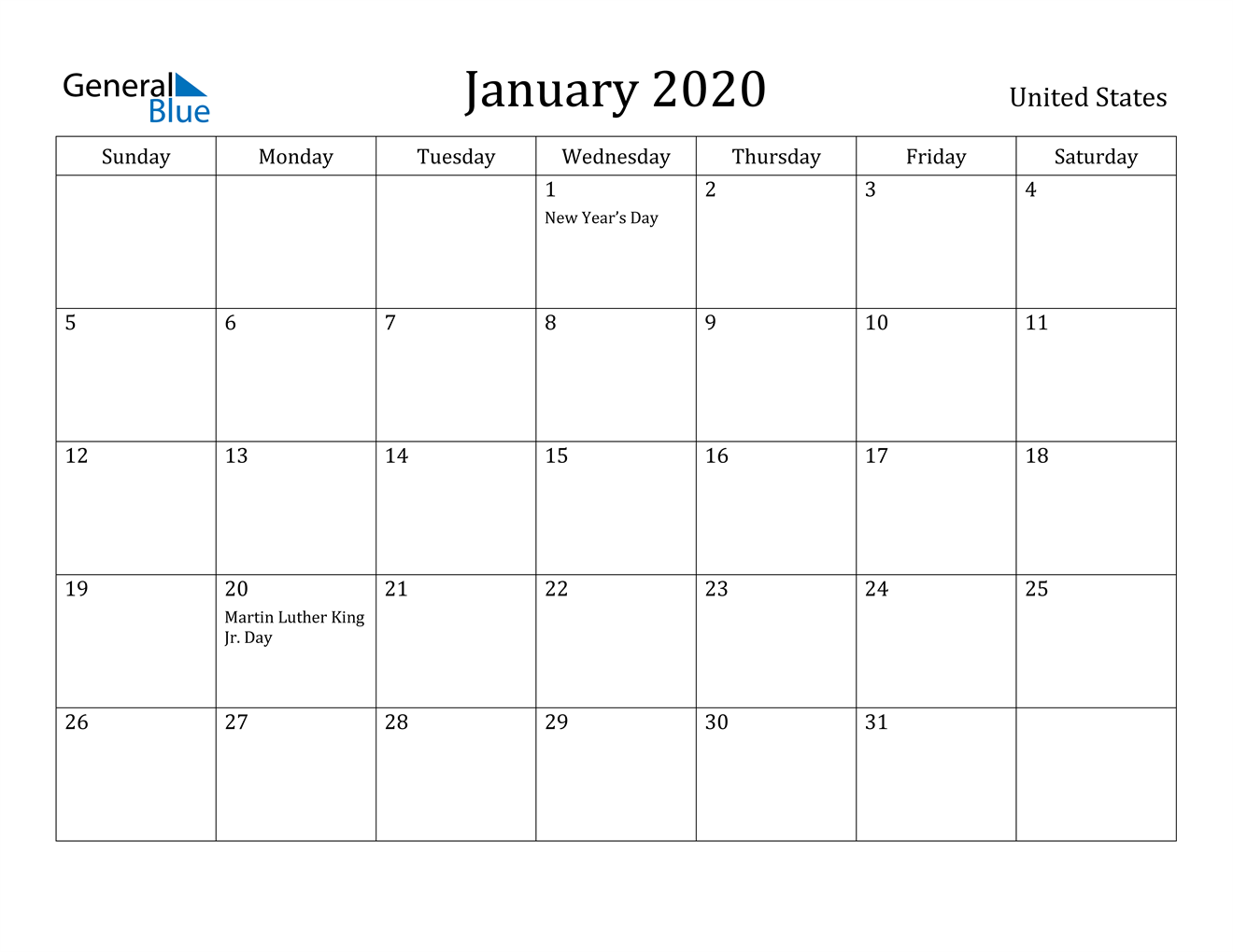 Image of January 2020 United States Calendar with Holidays Calendar