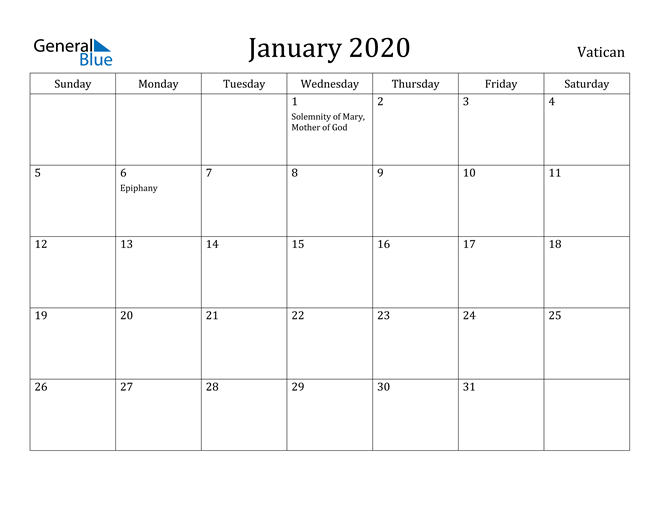 Image of January 2020 Vatican Calendar with Holidays Calendar